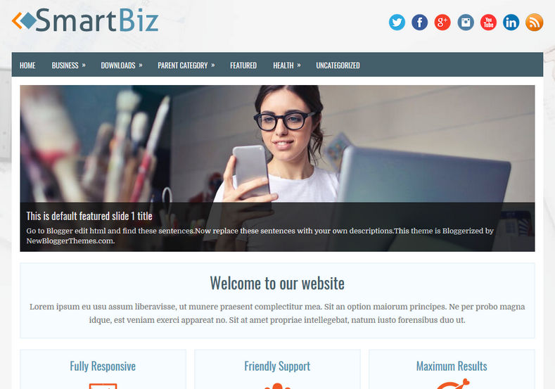 SmartBiz Blogger Template is a 3 column one page layout blogger theme with attractive business and portfolio design