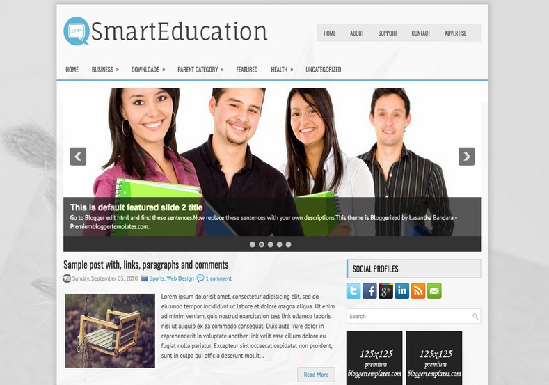 SmartEducation Blogger Template. Blogger Themes. Free Blogspot templates for your blogger blog. Best suitable for news blog templates. Ads ready blogspot templates help for add adsense ad code and easily showing adsence ads in your blog. Adapted from WordPress templates are converted from WordPress themes. It is help for take your rich. Blogger magazine template specially designed for magazine blogs. The writers can utilize this themes for take blog attractive to users. Elegant themes are more used themes in most of the blogs. Use minimalist blog templates for rich look for your blog. Free premium blogger themes means, themes authors release two types of themes. One is premium another one is free. Premium templates given for cost but free themes given for no cost. You no need pay From California, USA. $10 USD, or $20 USD and more. But premium buyers get more facilities from authors But free buyers. If you run game or other animation oriented blogs, and you can try with Anime blog templates. Today the world is fashion world. So girls involve to the criteria for make their life fashionable. So we provide fashion blogger themes for make your fashionable. News is most important concept of the world. Download news blogger templates for publishing online news. You can make your blog as online shopping store. Get Online shopping store blogger template to sell your product. Navigation is most important to users find correct place. Download drop down menu, page navigation menu, breadcrumb navigation menu and vertical dropdown menu blogspot themes for free. Google Guide to blogging tips and tricks for bloggers. Google bloggers can get blogspot trick and tips for bloggers. Blog templates portfolio professional blogspot themes, You can store your life moments with your blogs with personal pages templates. Video and movie blogs owners get amazing movie blog themes for their blogs. Business templates download. We publish blogger themes for photographers. Photographers easily share photos via photography blog themes. St valentine Christmas Halloween templates. Download Slideshow slider templates for free. Under construction coming soon custom blogspot template. Best beautiful high quality Custom layouts Blog templates from templateism, SoraTemplates, templatetrackers, simple, cute free premium professional unique designs blog themes blogspot themes. Seo ready portfolio anime fashion movie movies health custom layouts best download blogspot themes simple cute free premium professional unique designs xml html code html5.
