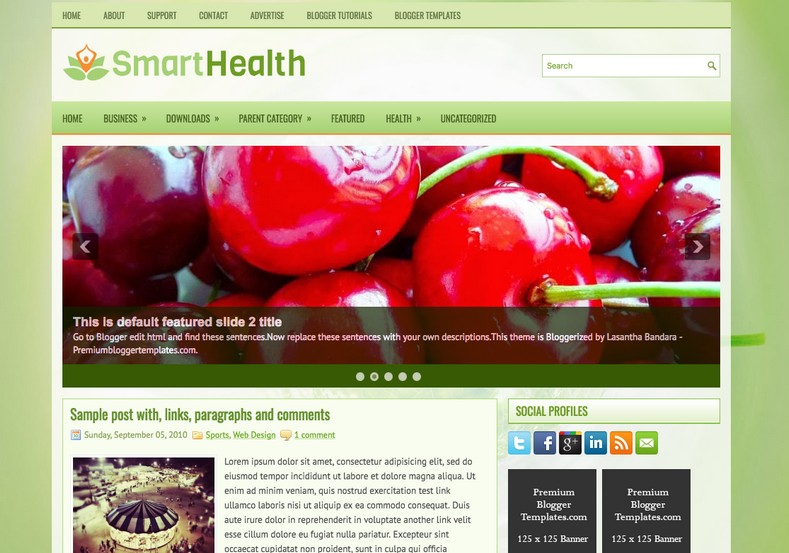 SmartHealth Green Blogger Template. Blogger Themes. Free Blogspot templates for your blogger blog. Best suitable for news blog templates. Best Ads ready blogspot templates help for add adsense ad code and easily showing adsence ads in your blog. Adapted from WordPress templates are converted from WordPress themes. It is help for take your rich. Blogger magazine template specially designed for magazine blogs. The writers can utilize this themes for take blog attractive to users. Elegant themes are more used themes in most of the blogs. Use minimalist blog templates for rich look for your blog. Free premium blogger themes means, themes authors release two types of themes. One is premium another one is free. Premium templates given for cost but free themes given for no cost. You no need pay From California, USA. $10 USD, or $20 USD and more. But premium buyers get more facilities from authors But free buyers. If you run game or other animation oriented blogs, and you can try with Anime blog templates. Today the world is fashion world. So girls involve to the criteria for make their life fashionable. So we provide fashion blogger themes for make your fashionable. News is most important concept of the world. Download news blogger templates for publishing online news. You can make your blog as online shopping store. Get Online shopping store blogger template to sell your product. Navigation is most important to users find correct place. Download drop down menu, page navigation menu, breadcrumb navigation menu and vertical dropdown menu blogspot themes for free. Google Guide to blogging tips and tricks for bloggers. Google bloggers can get blogspot trick and tips for bloggers. Blog templates portfolio professional blogspot themes, You can store your life moments with your blogs with personal pages templates. Video and movie blogs owners get amazing movie blog themes for their blogs. Business templates download. We publish blogger themes for photographers. Photographers easily share photos via photography blog themes. St valentine Christmas Halloween templates. Download Slideshow slider templates for free. Under construction coming soon custom blogspot template. Best beautiful high quality Custom layouts Blog templates from templateism, SoraTemplates, templatetrackers, simple, cute free premium professional unique designs blog themes blogspot themes. Seo ready portfolio anime fashion movie movies health custom layouts best download blogspot themes simple cute free premium professional unique designs xml html code html5.