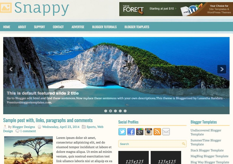 Snappy 2 Columns Blogger Template. Blogger Themes. Free Blogspot templates for your blogger blog. Best suitable for news blog templates. Ads ready blogspot templates help for add adsense ad code and easily showing adsence ads in your blog. Adapted from WordPress templates are converted from WordPress themes. It is help for take your rich. Blogger magazine template specially designed for magazine blogs. The writers can utilize this themes for take blog attractive to users. Elegant themes are more used themes in most of the blogs. Minimalist blog templates. Free premium blogger themes means, themes authors release two types of themes. One is premium another one is free. Premium templates given for cost but free themes given for no cost. You no need pay From California, USA. $10 USD, or $20 USD and more. But premium buyers get more facilities from authors But free buyers. If you run game or other animation oriented blogs, and you can try with Anime blog templates. Today the world is fashion world. So girls involve to the criteria for make their life fashionable. So we provide fashion blogger themes for make your fashionable. News is most important concept of the world. Download news blogger templates for publishing online news. You can make your blog as online shopping store. Get Online shopping store blogger template to sell your product. Navigation is most important to users find correct place. Download drop down menu, page navigation menu, breadcrumb navigation menu and vertical dropdown menu blogspot themes for free. Google Guide. Blogging tips and Tricks for bloggers. Google bloggers can get blogspot trick and tips for bloggers. Blog templates portfolio professional blogspot themes, You can store your life moments with your blogs with personal pages templates. Video and movie blogs owners get amazing movie blog themes for their blogs. Business templates download. We publish blogger themes for photographers. Photographers easily share photos via photography blog themes. St valentine Christmas Halloween templates. Download Slideshow slider templates for free. Under construction coming soon custom blogspot template. Best beautiful high quality Custom layouts Blog templates from templateism, SoraTemplates, templatetrackers, simple, cute free premium professional unique designs blog themes blogspot themes. Seo ready portfolio anime fashion movie movies health custom layouts best download blogspot themes simple cute free premium professional unique designs xml html code html5.