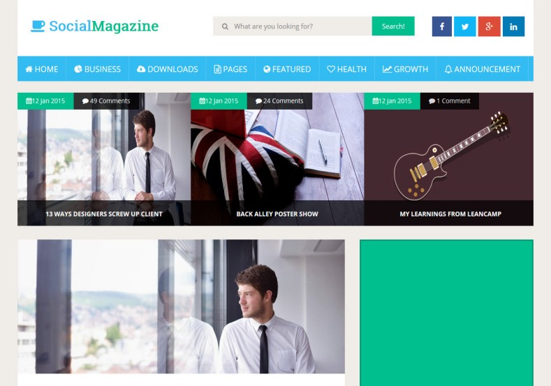 Social Magazine Responsive Blogger Template. Blogger Themes. Free Blogspot templates for your blogger blog. Best suitable for news blog templates. Ads ready blogspot templates help for add adsense ad code and easily showing adsence ads in your blog. Adapted from WordPress templates are converted from WordPress themes. It is help for take your rich. Blogger magazine template specially designed for magazine blogs. The writers can utilize this themes for take blog attractive to users. Elegant themes are more used themes in most of the blogs. Use minimalist blog templates for rich look for your blog. Free premium blogger themes means, themes authors release two types of themes. One is premium another one is free. Premium templates given for cost but free themes given for no cost. You no need pay From California, USA. $10 USD, or $20 USD and more. But premium buyers get more facilities from authors But free buyers. If you run game or other animation oriented blogs, and you can try with Anime blog templates. Today the world is fashion world. So girls involve to the criteria for make their life fashionable. So we provide fashion blogger themes for make your fashionable. News is most important concept of the world. Download news blogger templates for publishing online news. You can make your blog as online shopping store. Get Online shopping store blogger template to sell your product. Navigation is most important to users find correct place. Download drop down menu, page navigation menu, breadcrumb navigation menu and vertical dropdown menu blogspot themes for free. Google Guide to blogging tips and tricks for bloggers. Google bloggers can get blogspot trick and tips for bloggers. Blog templates portfolio professional blogspot themes, You can store your life moments with your blogs with personal pages templates. Video and movie blogs owners get amazing movie blog themes for their blogs. Business templates download. We publish blogger themes for photographers. Photographers