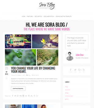 Sora Blog Responsive Blogger Templates