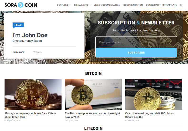 Sora Coin Blogger Template is a minimal blogspot theme specially for cryptocurrency and ico in mind. It is very fast loading and targetted for finance niche.
