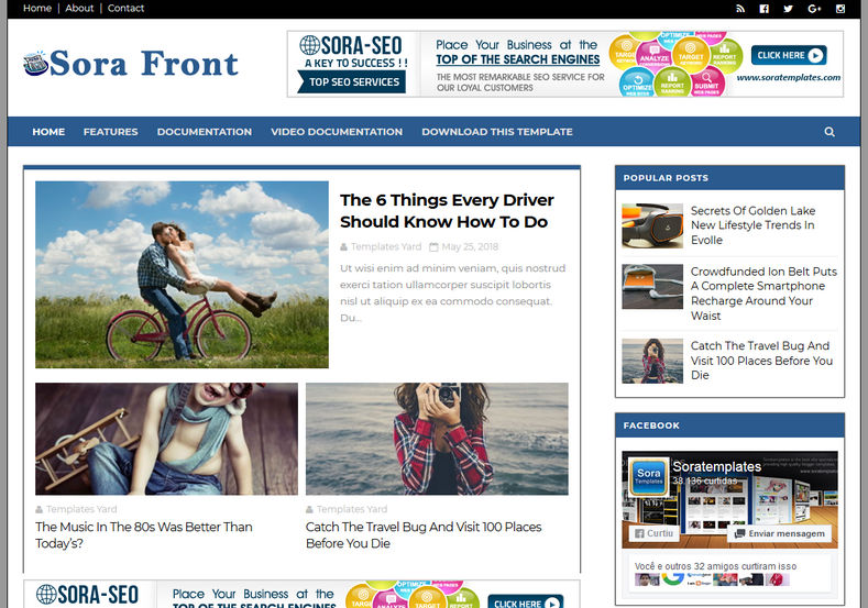 Sora Front Blogger Template is a simple responsive free blogger templates only for those who loves clean and clear design