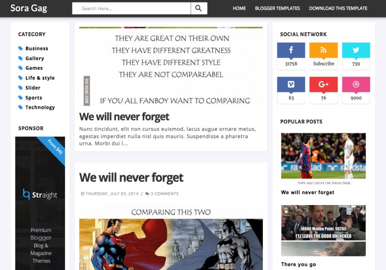 Sora Gag Blogger Template. Free blogger themes 2015. blogger templates