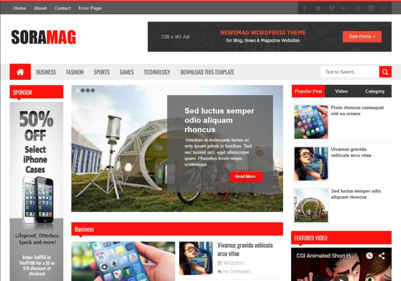 Sora Mag v2 Blogger Template from SoraTemplates