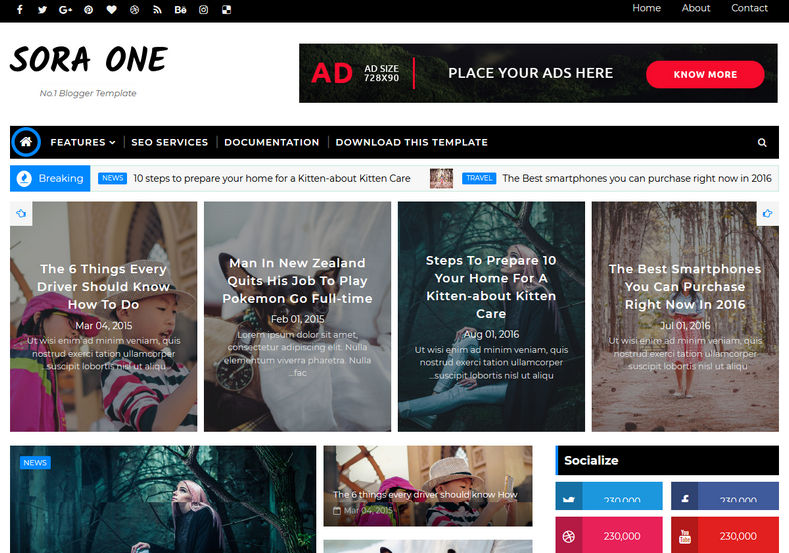 Sora One Blogger Template is a perfect magazine and seo friendly blosgpot theme with whatsapp sharing and useful for Profesisonal blog as well as News Websites