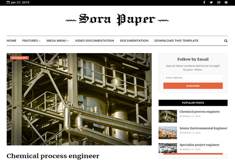 Sora Paper Blogger Template is one of its best responsive kind newspaper publishing blogger theme that looks professional and feels classy.