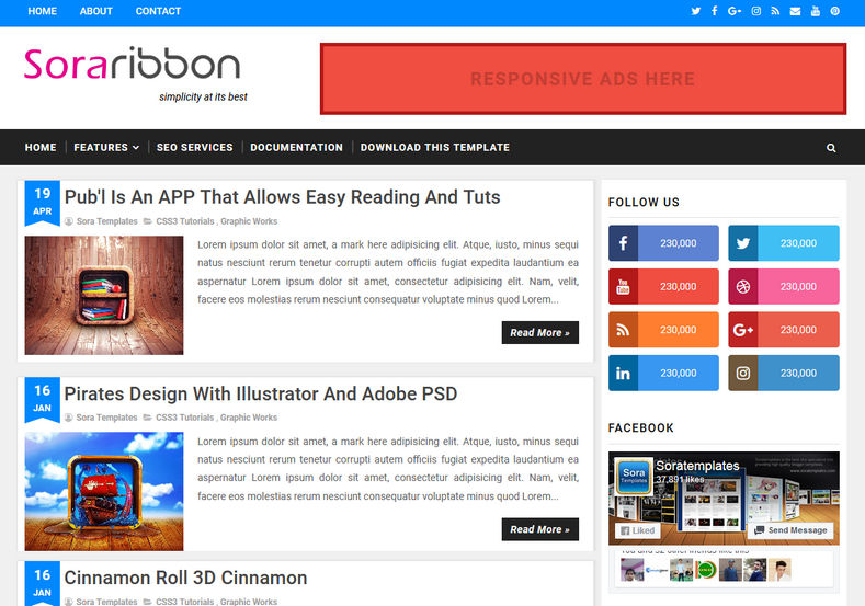 Sora Ribbon Blogger Template is a simple and minimal theme with best seo index rate and it is perfect for every blogging niche