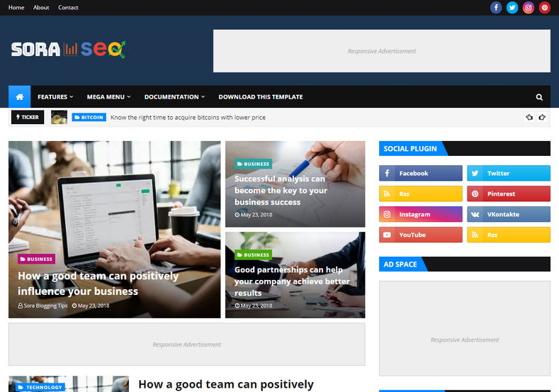 Sora Seo Blogger Template is a very seo friendly blogspot theme which has an attractive design and 100% responsive layout with all the latest features
