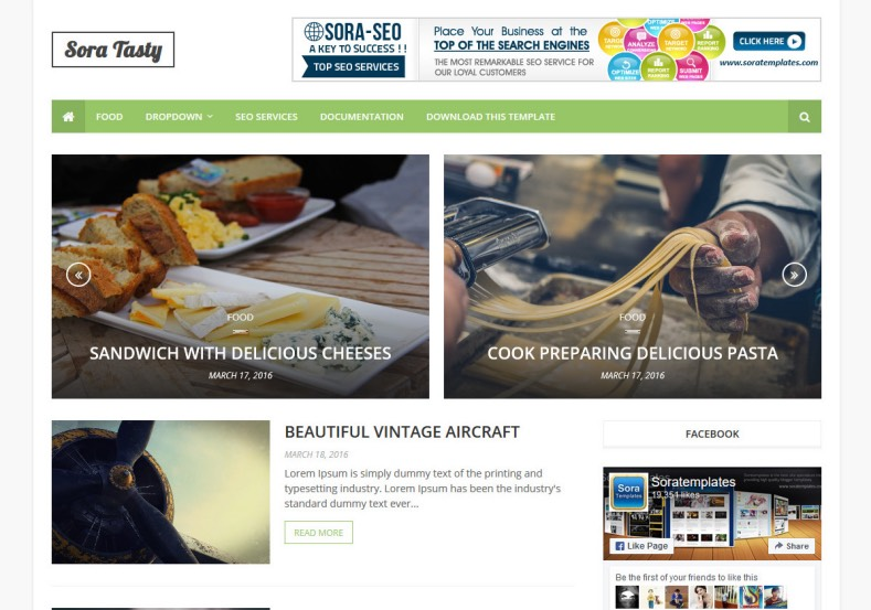 Sora Tasty Blogger Template Free and best amazing magazine blogger templates 2017 for building and renovating your tech and news magazine blogspot blogs. Download Sora Tasty Blogger Template.