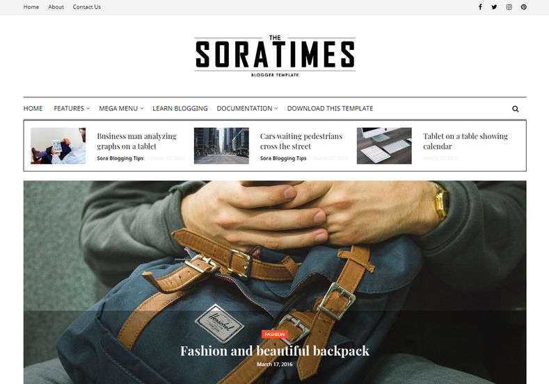 Sora Times Blogger Template is a very uniquely designed minimalistic theme with professional looking news publishing blogging blogspot theme.