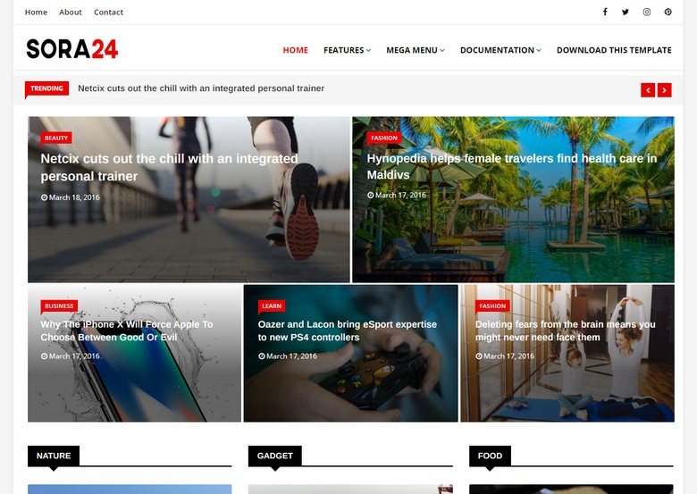 Sora24 Blogger Template is a supper magazine blogspot theme with outstanding fast loading speed and elegant color combination for perfect look