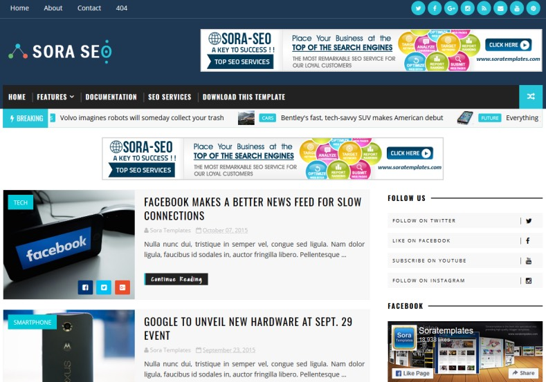 SoraSeo Blogger Template. Best quality blogger templates 2017. Template specially designed news and tech magazine blogs. Earn with advertisement with ad placement enabled SoraSeo Blogger Template.