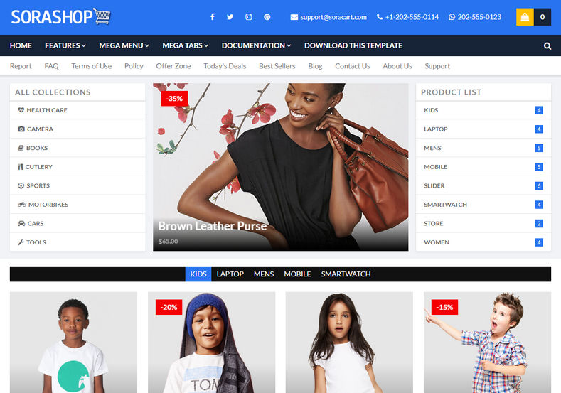 SoraShop Blogger Template is a responsive ecommerce and online shopping blogspot template, which is perfect for any type of e-commerce website.