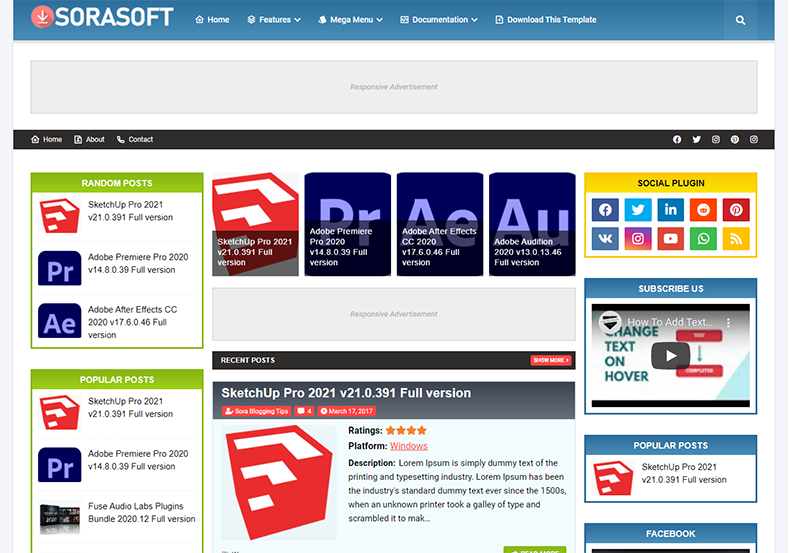 SoraSoft Blogger Template is a fully responsive three column blogging blogspot theme with all the latest features and SEO friendly coding layout