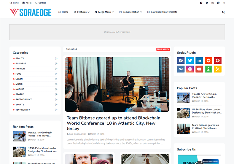 Soraedge Blogger Template is an exceptional and outstanding looking blogspot theme with flexible and fast loading layout.