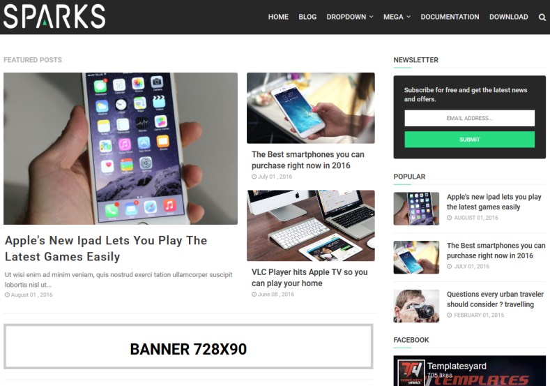 Sparks Blogger Template free download best quality free blogger themes 2018 for blogger