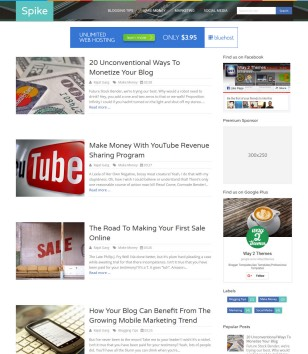 Spike Responsive Blogger Templates
