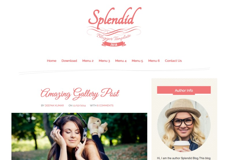 Splendid Pink Blogger Template