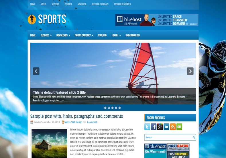 Sports 2 Columns Blogger Template. Blogger Themes. Free Blogspot templates for your blogger blog. Best suitable for news blog templates. Best Ads ready blogspot templates help for add adsense ad code and easily showing adsence ads in your blog. Adapted from WordPress templates are converted from WordPress themes. It is help for take your rich. Blogger magazine template specially designed for magazine blogs. The writers can utilize this themes for take blog attractive to users. Elegant themes are more used themes in most of the blogs. Use minimalist blog templates for rich look for your blog. Free premium blogger themes means, themes authors release two types of themes. One is premium another one is free. Premium templates given for cost but free themes given for no cost. You no need pay From California, USA. $10 USD, or $20 USD and more. But premium buyers get more facilities from authors But free buyers. If you run game or other animation oriented blogs, and you can try with Anime blog templates. Today the world is fashion world. So girls involve to the criteria for make their life fashionable. So we provide fashion blogger themes for make your fashionable. News is most important concept of the world. Download news blogger templates for publishing online news. You can make your blog as online shopping store. Get Online shopping store blogger template to sell your product. Navigation is most important to users find correct place. Download drop down menu, page navigation menu, breadcrumb navigation menu and vertical dropdown menu blogspot themes for free. Google Guide to blogging tips and tricks for bloggers. Google bloggers can get blogspot trick and tips for bloggers. Blog templates portfolio professional blogspot themes, You can store your life moments with your blogs with personal pages templates. Video and movie blogs owners get amazing movie blog themes for their blogs. Business templates download. We publish blogger themes for photographers. Photographers easily share photos via photography blog themes. St valentine Christmas Halloween templates. Download Slideshow slider templates for free. Under construction coming soon custom blogspot template. Best beautiful high quality Custom layouts Blog templates from templateism, SoraTemplates, templatetrackers, simple, cute free premium professional unique designs blog themes blogspot themes. Seo ready portfolio anime fashion movie movies health custom layouts best download blogspot themes simple cute free premium professional unique designs xml html code html5.
