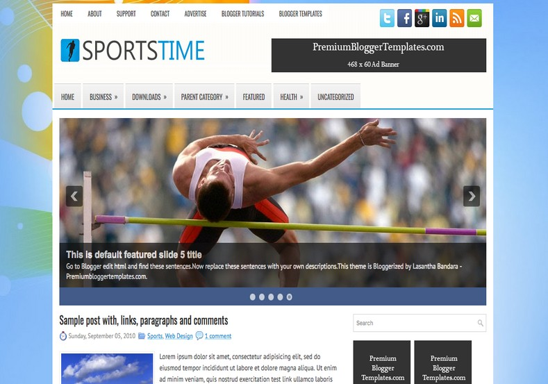 SportsTime Blogger Template. Blogger Themes. Free Blogspot templates for your blogger blog. Best suitable for news blog templates. Best Ads ready blogspot templates help for add adsense ad code and easily showing adsence ads in your blog. Adapted from WordPress templates are converted from WordPress themes. It is help for take your rich. Blogger magazine template specially designed for magazine blogs. The writers can utilize this themes for take blog attractive to users. Elegant themes are more used themes in most of the blogs. Use minimalist blog templates for rich look for your blog. Free premium blogger themes means, themes authors release two types of themes. One is premium another one is free. Premium templates given for cost but free themes given for no cost. You no need pay From California, USA. $10 USD, or $20 USD and more. But premium buyers get more facilities from authors But free buyers. If you run game or other animation oriented blogs, and you can try with Anime blog templates. Today the world is fashion world. So girls involve to the criteria for make their life fashionable. So we provide fashion blogger themes for make your fashionable. News is most important concept of the world. Download news blogger templates for publishing online news. You can make your blog as online shopping store. Get Online shopping store blogger template to sell your product. Navigation is most important to users find correct place. Download drop down menu, page navigation menu, breadcrumb navigation menu and vertical dropdown menu blogspot themes for free. Google Guide to blogging tips and tricks for bloggers. Google bloggers can get blogspot trick and tips for bloggers. Blog templates portfolio professional blogspot themes, You can store your life moments with your blogs with personal pages templates. Video and movie blogs owners get amazing movie blog themes for their blogs. Business templates download. We publish blogger themes for photographers. Photographers easily share photos via photography blog themes. St valentine Christmas Halloween templates. Download Slideshow slider templates for free. Under construction coming soon custom blogspot template. Best beautiful high quality Custom layouts Blog templates from templateism, SoraTemplates, templatetrackers, simple, cute free premium professional unique designs blog themes blogspot themes. Seo ready portfolio anime fashion movie movies health custom layouts best download blogspot themes simple cute free premium professional unique designs xml html code html5.