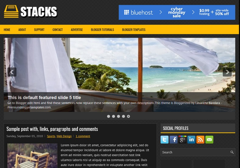 Stacks Dark Blogger Template. Blogger Themes. Free Blogspot templates for your blogger blog. Best suitable for news blog templates. Ads ready blogspot templates help for add adsense ad code and easily showing adsence ads in your blog. Adapted from WordPress templates are converted from WordPress themes. It is help for take your rich. Blogger magazine template specially designed for magazine blogs. The writers can utilize this themes for take blog attractive to users. Elegant themes are more used themes in most of the blogs. Use minimalist blog templates for rich look for your blog. Free premium blogger themes means, themes authors release two types of themes. One is premium another one is free. Premium templates given for cost but free themes given for no cost. You no need pay From California, USA. $10 USD, or $20 USD and more. But premium buyers get more facilities from authors But free buyers. If you run game or other animation oriented blogs, and you can try with Anime blog templates. Today the world is fashion world. So girls involve to the criteria for make their life fashionable. So we provide fashion blogger themes for make your fashionable. News is most important concept of the world. Download news blogger templates for publishing online news. You can make your blog as online shopping store. Get Online shopping store blogger template to sell your product. Navigation is most important to users find correct place. Download drop down menu, page navigation menu, breadcrumb navigation menu and vertical dropdown menu blogspot themes for free. Google Guide to blogging tips and tricks for bloggers. Google bloggers can get blogspot trick and tips for bloggers. Blog templates portfolio professional blogspot themes, You can store your life moments with your blogs with personal pages templates. Video and movie blogs owners get amazing movie blog themes for their blogs. Business templates download. We publish blogger themes for photographers. Photographers easily share photos via photography blog themes. St valentine Christmas Halloween templates. Download Slideshow slider templates for free. Under construction coming soon custom blogspot template. Best beautiful high quality Custom layouts Blog templates from templateism, soratemplates, templatetrackers, simple, cute free premium professional unique designs blog themes blogspot themes. Seo ready portfolio anime fashion movie movies health custom layouts best download blogspot themes simple cute free premium professional unique designs xml html code html5.