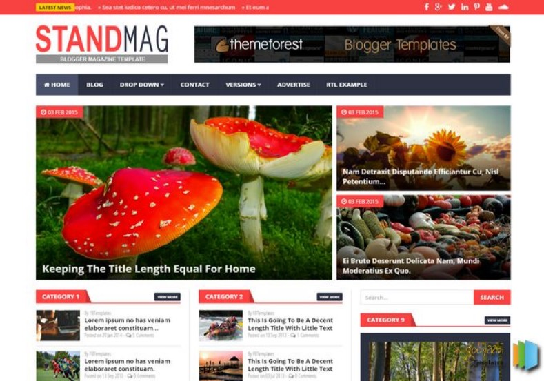 Stand Mag Blogger Template. Blogger Themes. Free Blogspot templates for your blogger blog. Best suitable for news blog templates. Best Ads ready blogspot templates help for add adsense ad code and easily showing adsence ads in your blog. Adapted from WordPress templates are converted from WordPress themes. It is help for take your rich. Blogger magazine template specially designed for magazine blogs. The writers can utilize this themes for take blog attractive to users. Elegant themes are more used themes in most of the blogs. Use minimalist blog templates for rich look for your blog. Free premium blogger themes means, themes authors release two types of themes. One is premium another one is free. Premium templates given for cost but free themes given for no cost. You no need pay From California, USA. $10 USD, or $20 USD and more. But premium buyers get more facilities from authors But free buyers. If you run game or other animation oriented blogs, and you can try with Anime blog templates. Today the world is fashion world. So girls involve to the criteria for make their life fashionable. So we provide fashion blogger themes for make your fashionable. News is most important concept of the world. Download news blogger templates for publishing online news. You can make your blog as online shopping store. Get Online shopping store blogger template to sell your product. Navigation is most important to users find correct place. Download drop down menu, page navigation menu, breadcrumb navigation menu and vertical dropdown menu blogspot themes for free. Google Guide to blogging tips and tricks for bloggers. Google bloggers can get blogspot trick and tips for bloggers. Blog templates portfolio professional blogspot themes, You can store your life moments with your blogs with personal pages templates. Video and movie blogs owners get amazing movie blog themes for their blogs. Business templates download. We publish blogger themes for photographers. Photographers easily share photos via photography blog themes. St valentine Christmas Halloween templates. Download Slideshow slider templates for free. Under construction coming soon custom blogspot template. Best beautiful high quality Custom layouts Blog templates from templateism, SoraTemplates, templatetrackers, simple, cute free premium professional unique designs blog themes blogspot themes. Seo ready portfolio anime fashion movie movies health custom layouts best download blogspot themes simple cute free premium professional unique designs xml html code html5.. Stand Mag Blogger Template