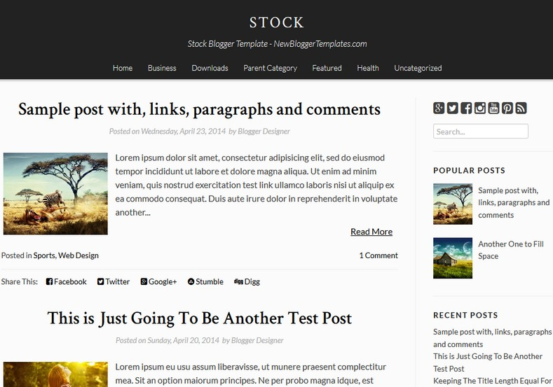 Stock Simple Blogger Template. Blogger Themes. Free Blogspot templates for your blogger blog. Best suitable for news blog templates. Ads ready blogspot templates help for add adsense ad code and easily showing adsence ads in your blog. Adapted from WordPress templates are converted from WordPress themes. It is help for take your rich. Blogger magazine template specially designed for magazine blogs. The writers can utilize this themes for take blog attractive to users. Elegant themes are more used themes in most of the blogs. Use minimalist blog templates for rich look for your blog. Free premium blogger themes means, themes authors release two types of themes. One is premium another one is free. Premium templates given for cost but free themes given for no cost. You no need pay From California, USA. $10 USD, or $20 USD and more. But premium buyers get more facilities from authors But free buyers. If you run game or other animation oriented blogs, and you can try with Anime blog templates. Today the world is fashion world. So girls involve to the criteria for make their life fashionable. So we provide fashion blogger themes for make your fashionable. News is most important concept of the world. Download news blogger templates for publishing online news. You can make your blog as online shopping store. Get Online shopping store blogger template to sell your product. Navigation is most important to users find correct place. Download drop down menu, page navigation menu, breadcrumb navigation menu and vertical dropdown menu blogspot themes for free. Google Guide to blogging tips and tricks for bloggers. Google bloggers can get blogspot trick and tips for bloggers. Blog templates portfolio professional blogspot themes, You can store your life moments with your blogs with personal pages templates. Video and movie blogs owners get amazing movie blog themes for their blogs. Business templates download. We publish blogger themes for photographers. Photographers easily share photos via photography blog themes. St valentine Christmas Halloween templates. Download Slideshow slider templates for free. Under construction coming soon custom blogspot template. Best beautiful high quality Custom layouts Blog templates from templateism, SoraTemplates, templatetrackers, simple, cute free premium professional unique designs blog themes blogspot themes. Seo ready portfolio anime fashion movie movies health custom layouts best download blogspot themes simple cute free premium professional unique designs xml html code html5.