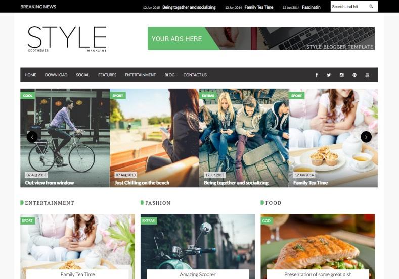 Style Magazine Blogger Template. Blogger Themes. Free Blogspot ...