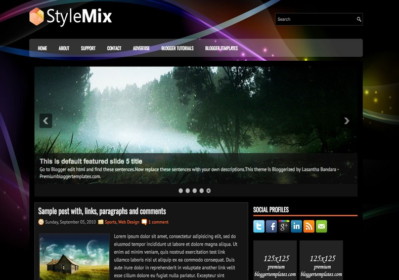 StyleMix Dark Blogger Template. Blogger Themes. Free Blogspot templates for your blogger blog. Best suitable for news blog templates. Ads ready blogspot templates help for add adsense ad code and easily showing adsence ads in your blog. Adapted from WordPress templates are converted from WordPress themes. It is help for take your rich. Blogger magazine template specially designed for magazine blogs. The writers can utilize this themes for take blog attractive to users. Elegant themes are more used themes in most of the blogs. Use minimalist blog templates for rich look for your blog. Free premium blogger themes means, themes authors release two types of themes. One is premium another one is free. Premium templates given for cost but free themes given for no cost. You no need pay From California, USA. $10 USD, or $20 USD and more. But premium buyers get more facilities from authors But free buyers. If you run game or other animation oriented blogs, and you can try with Anime blog templates. Today the world is fashion world. So girls involve to the criteria for make their life fashionable. So we provide fashion blogger themes for make your fashionable. News is most important concept of the world. Download news blogger templates for publishing online news. You can make your blog as online shopping store. Get Online shopping store blogger template to sell your product. Navigation is most important to users find correct place. Download drop down menu, page navigation menu, breadcrumb navigation menu and vertical dropdown menu blogspot themes for free. Google Guide to blogging tips and tricks for bloggers. Google bloggers can get blogspot trick and tips for bloggers. Blog templates portfolio professional blogspot themes, You can store your life moments with your blogs with personal pages templates. Video and movie blogs owners get amazing movie blog themes for their blogs. Business templates download. We publish blogger themes for photographers. Photographers easily share