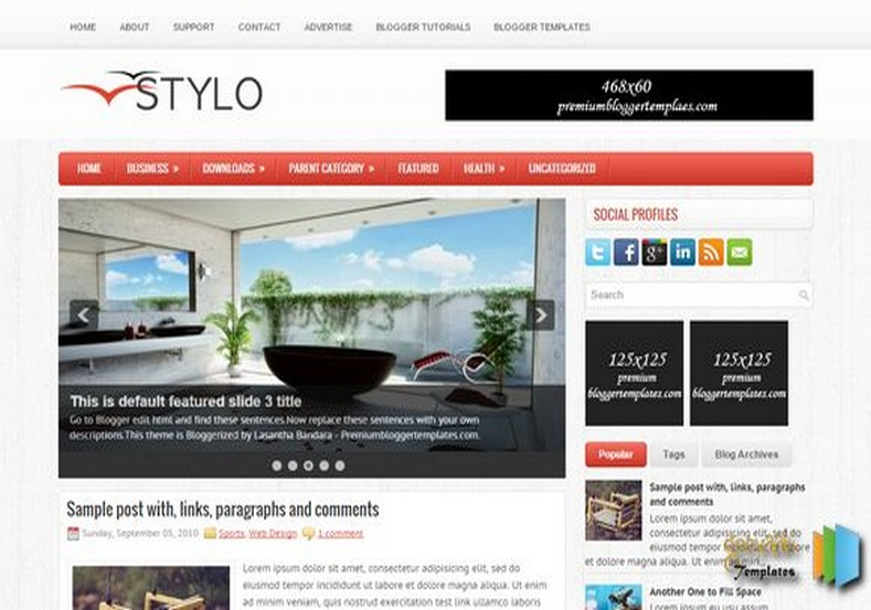 Stylo Responsive Blogger Template. Blogger Themes. Free Blogspot templates for your blogger blog. Best suitable for news blog templates. Ads ready blogspot templates help for add adsense ad code and easily showing adsence ads in your blog. Adapted from WordPress templates are converted from WordPress themes. It is help for take your rich. Blogger magazine template specially designed for magazine blogs. The writers can utilize this themes for take blog attractive to users. Elegant themes are more used themes in most of the blogs. Use minimalist blog templates for rich look for your blog. Free premium blogger themes means, themes authors release two types of themes. One is premium another one is free. Premium templates given for cost but free themes given for no cost. You no need pay From California, USA. $10 USD, or $20 USD and more. But premium buyers get more facilities from authors But free buyers. If you run game or other animation oriented blogs, and you can try with Anime blog templates. Today the world is fashion world. So girls involve to the criteria for make their life fashionable. So we provide fashion blogger themes for make your fashionable. News is most important concept of the world. Download news blogger templates for publishing online news. You can make your blog as online shopping store. Get Online shopping store blogger template to sell your product. Navigation is most important to users find correct place. Download drop down menu, page navigation menu, breadcrumb navigation menu and vertical dropdown menu blogspot themes for free. Google Guide to blogging tips and tricks for bloggers. Google bloggers can get blogspot trick and tips for bloggers. Blog templates portfolio professional blogspot themes, You can store your life moments with your blogs with personal pages templates. Video and movie blogs owners get amazing movie blog themes for their blogs. Business templates download. We publish blogger themes for photographers. Photographers easily share photos via photography blog themes. St valentine Christmas Halloween templates. Download Slideshow slider templates for free. Under construction coming soon custom blogspot template. Best beautiful high quality Custom layouts Blog templates from templateism, soratemplates, templatetrackers, simple, cute free premium professional unique designs blog themes blogspot themes. Seo ready portfolio anime fashion movie movies health custom layouts best download blogspot themes simple cute free premium professional unique designs xml html code html5.