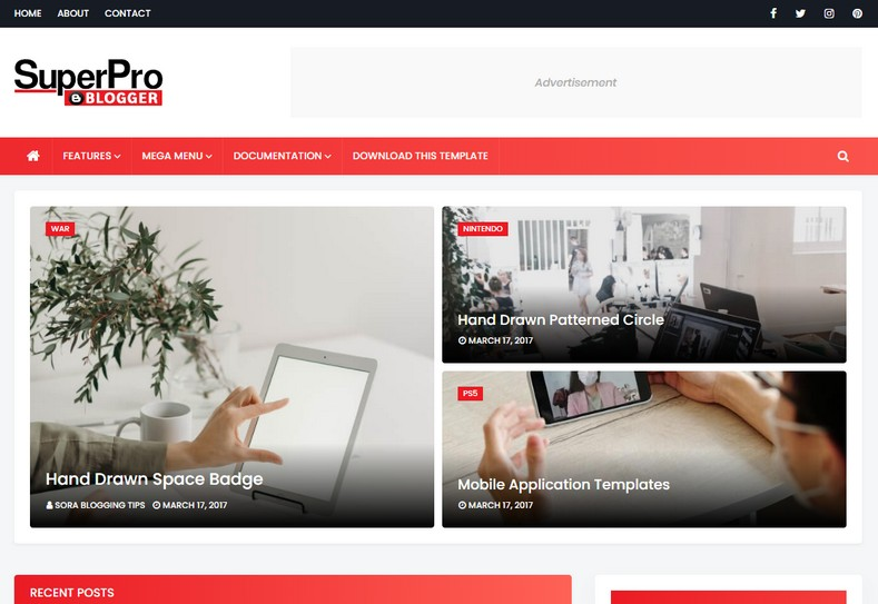 Super Pro Blogger Template is a super stylish and fast loading blogspot theme with all the new SEO features and fast loading speed
