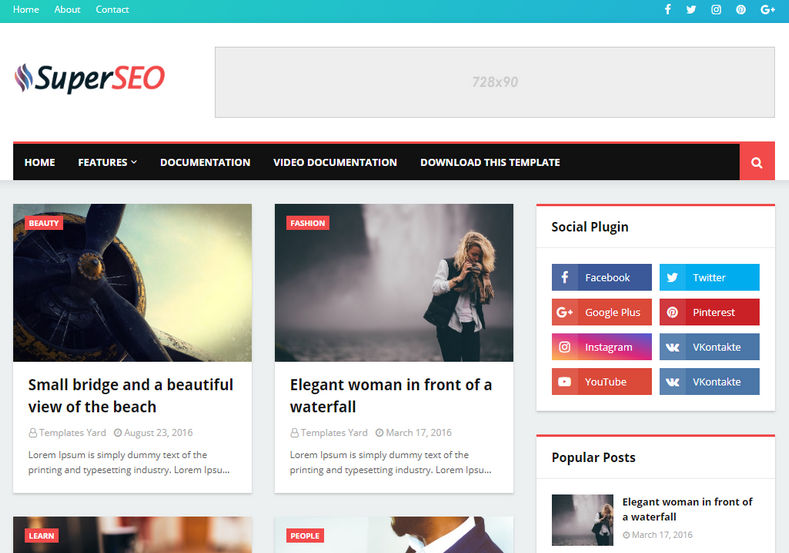 Super Seo Optimised Blogger Template Is A Smart And Simple Responsive Theme With Top Of