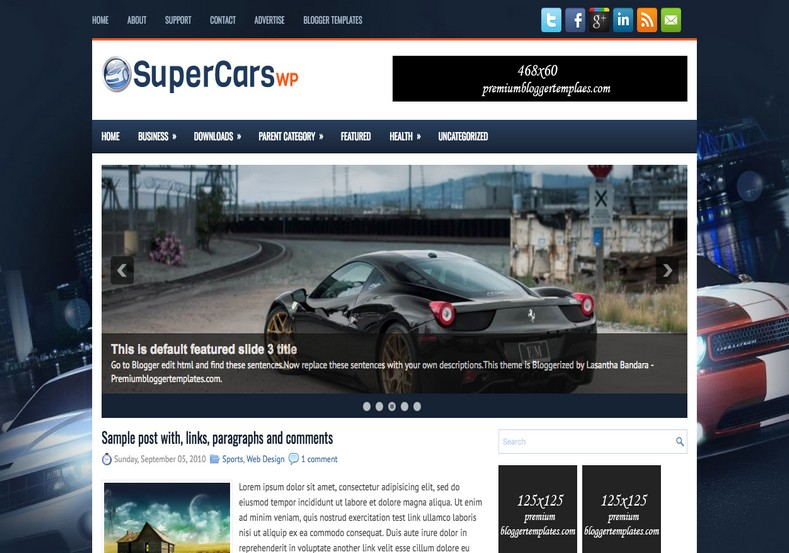 SuperCarsWp Blue Blogger Template. Blogger Themes. Free Blogspot templates for your blogger blog. Best suitable for news blog templates. Best Ads ready blogspot templates help for add adsense ad code and easily showing adsence ads in your blog. Adapted from WordPress templates are converted from WordPress themes. It is help for take your rich. Blogger magazine template specially designed for magazine blogs. The writers can utilize this themes for take blog attractive to users. Elegant themes are more used themes in most of the blogs. Use minimalist blog templates for rich look for your blog. Free premium blogger themes means, themes authors release two types of themes. One is premium another one is free. Premium templates given for cost but free themes given for no cost. You no need pay From California, USA. $10 USD, or $20 USD and more. But premium buyers get more facilities from authors But free buyers. If you run game or other animation oriented blogs, and you can try with Anime blog templates. Today the world is fashion world. So girls involve to the criteria for make their life fashionable. So we provide fashion blogger themes for make your fashionable. News is most important concept of the world. Download news blogger templates for publishing online news. You can make your blog as online shopping store. Get Online shopping store blogger template to sell your product. Navigation is most important to users find correct place. Download drop down menu, page navigation menu, breadcrumb navigation menu and vertical dropdown menu blogspot themes for free. Google Guide to blogging tips and tricks for bloggers. Google bloggers can get blogspot trick and tips for bloggers. Blog templates portfolio professional blogspot themes, You can store your life moments with your blogs with personal pages templates. Video and movie blogs owners get amazing movie blog themes for their blogs. Business templates download. We publish blogger themes for photographers. Photographers easily share photos via photography blog themes. St valentine Christmas Halloween templates. Download Slideshow slider templates for free. Under construction coming soon custom blogspot template. Best beautiful high quality Custom layouts Blog templates from templateism, soratemplates, templatetrackers, simple, cute free premium professional unique designs blog themes blogspot themes. Seo ready portfolio anime fashion movie movies health custom layouts best download blogspot themes simple cute free premium professional unique designs xml html code html5.