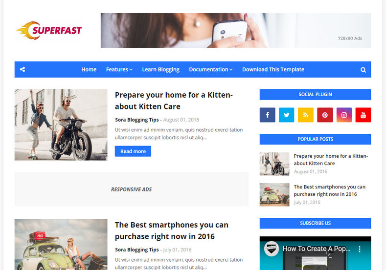 Superfast Blogger Template is an amazingly designed and well optimized blogging blogspot theme with highly seo optimized and responsive coding structure design and layout