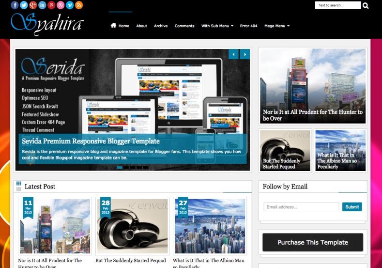 Syahira Blogger Template. premium blogger themes 2015