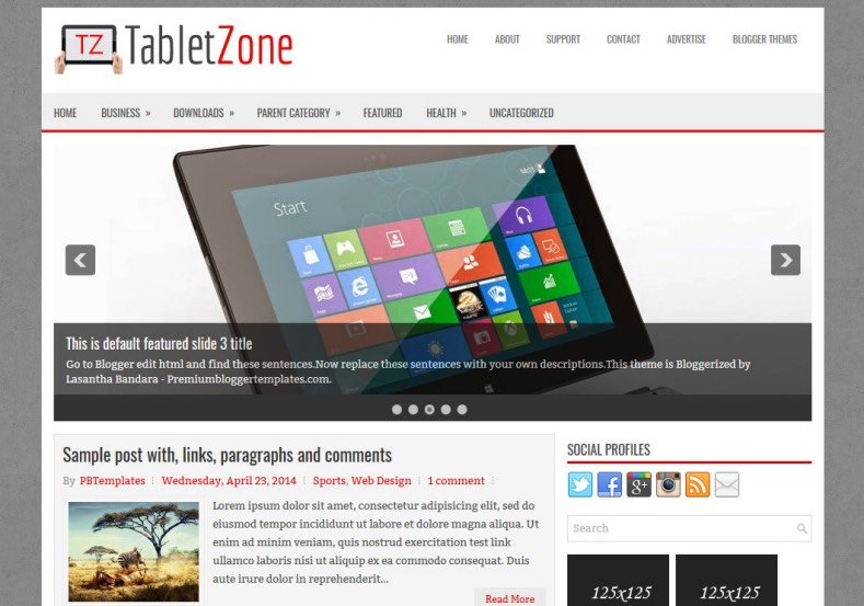Tabletzone technology blogger template free graphics for Create your own wordpress theme from an html template