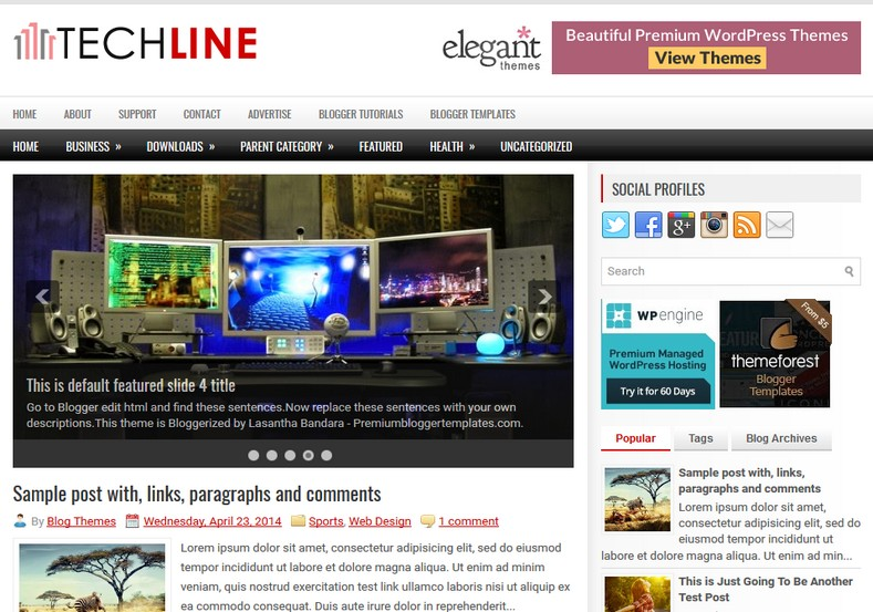 TechLine Blogger Template. Blogger Themes. Best suitable for news blog templates. Ads ready blogspot templates help for add adsense ad code and easily showing adsence ads in your blog. Adapted from WordPress templates are converted from WordPress themes. It is help for take your rich. Blogger magazine template specially designed for magazine blogs. The writers can utilize this themes for take blog attractive to users. Elegant themes are more used themes in most of the blogs. Minimalist blog templates. Free premium blogger themes means, themes authors release two types of themes. One is premium another one is free. Premium templates given for cost but free themes given for no cost. You no need pay From California, USA. $10 USD, or $20 USD and more. But premium buyers get more facilities from authors But free buyers. If you run game or other animation oriented blogs, and you can try with Anime blog templates. Today the world is fashion world. So girls involve to the criteria for make their life fashionable. So we provide fashion blogger themes for make your fashionable. News is most important concept of the world. Download news blogger templates for publishing online news. You can make your blog as online shopping store. Get Online shopping store blogger template to sell your product. Navigation is most important to users find correct place. Download drop down menu, page navigation menu, breadcrumb navigation menu and vertical dropdown menu blogspot themes for free. Google Guide. Blogging tips and Tricks for bloggers. Google bloggers can get blogspot trick and tips for bloggers. Blog templates portfolio professional blogspot themes, You can store your life moments with your blogs with personal pages templates. Video and movie blogs owners get amazing movie blog themes for their blogs.  Business templates download. We publish blogger themes for photographers.  Photographers easily share photos via photography blog themes. St valentine Christmas Halloween templates. Download Slideshow slider templates for free.  Under construction coming soon custom blogspot template. Best beautiful high quality Custom layouts Blog templates from templateism, soratemplates, templatetrackers, simple, cute free premium professional unique designs blog themes blogspot themes. Seo ready portfolio anime fashion movie movies health custom layouts best download blogspot themes simple cute free premium professional unique designs xml html code html5.