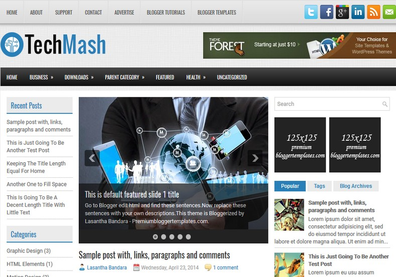 TechMash Magazine Blogger Template. Blogger Themes. Free Blogspot templates for your blogger blog. Best suitable for news blog templates. Ads ready blogspot templates help for add adsense ad code and easily showing adsence ads in your blog. Adapted from WordPress templates are converted from WordPress themes. It is help for take your rich. Blogger magazine template specially designed for magazine blogs. The writers can utilize this themes for take blog attractive to users. Elegant themes are more used themes in most of the blogs. Use minimalist blog templates for rich look for your blog. Free premium blogger themes means, themes authors release two types of themes. One is premium another one is free. Premium templates given for cost but free themes given for no cost. You no need pay From California, USA. $10 USD, or $20 USD and more. But premium buyers get more facilities from authors But free buyers. If you run game or other animation oriented blogs, and you can try with Anime blog templates. Today the world is fashion world. So girls involve to the criteria for make their life fashionable. So we provide fashion blogger themes for make your fashionable. News is most important concept of the world. Download news blogger templates for publishing online news. You can make your blog as online shopping store. Get Online shopping store blogger template to sell your product. Navigation is most important to users find correct place. Download drop down menu, page navigation menu, breadcrumb navigation menu and vertical dropdown menu blogspot themes for free. Google Guide to blogging tips and tricks for bloggers. Google bloggers can get blogspot trick and tips for bloggers. Blog templates portfolio professional blogspot themes, You can store your life moments with your blogs with personal pages templates. Video and movie blogs owners get amazing movie blog themes for their blogs. Business templates download. We publish blogger themes for photographers. Photographers easily share photos via photography blog themes. St valentine Christmas Halloween templates. Download Slideshow slider templates for free. Under construction coming soon custom blogspot template. Best beautiful high quality Custom layouts Blog templates from templateism, SoraTemplates, templatetrackers, simple, cute free premium professional unique designs blog themes blogspot themes. Seo ready portfolio anime fashion movie movies health custom layouts best download blogspot themes simple cute free premium professional unique designs xml html code html5.