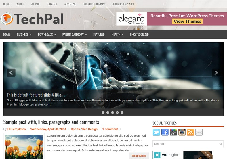 TechPal SEO Ready Blogger Template. Blogger Themes. Free Blogspot templates for your blogger blog. Best suitable for news blog templates. Ads ready blogspot templates help for add adsense ad code and easily showing adsence ads in your blog. Adapted from WordPress templates are converted from WordPress themes. It is help for take your rich. Blogger magazine template specially designed for magazine blogs. The writers can utilize this themes for take blog attractive to users. Elegant themes are more used themes in most of the blogs. Use minimalist blog templates for rich look for your blog. Free premium blogger themes means, themes authors release two types of themes. One is premium another one is free. Premium templates given for cost but free themes given for no cost. You no need pay From California, USA. $10 USD, or $20 USD and more. But premium buyers get more facilities from authors But free buyers. If you run game or other animation oriented blogs, and you can try with Anime blog templates. Today the world is fashion world. So girls involve to the criteria for make their life fashionable. So we provide fashion blogger themes for make your fashionable. News is most important concept of the world. Download news blogger templates for publishing online news. You can make your blog as online shopping store. Get Online shopping store blogger template to sell your product. Navigation is most important to users find correct place. Download drop down menu, page navigation menu, breadcrumb navigation menu and vertical dropdown menu blogspot themes for free. Google Guide to blogging tips and tricks for bloggers. Google bloggers can get blogspot trick and tips for bloggers. Blog templates portfolio professional blogspot themes, You can store your life moments with your blogs with personal pages templates. Video and movie blogs owners get amazing movie blog themes for their blogs. Business templates download. We publish blogger themes for photographers. Photographers easily share photos via photography blog themes. St valentine Christmas Halloween templates. Download Slideshow slider templates for free. Under construction coming soon custom blogspot template. Best beautiful high quality Custom layouts Blog templates from templateism, SoraTemplates, templatetrackers, simple, cute free premium professional unique designs blog themes blogspot themes. Seo ready portfolio anime fashion movie movies health custom layouts best download blogspot themes simple cute free premium professional unique designs xml html code html5.