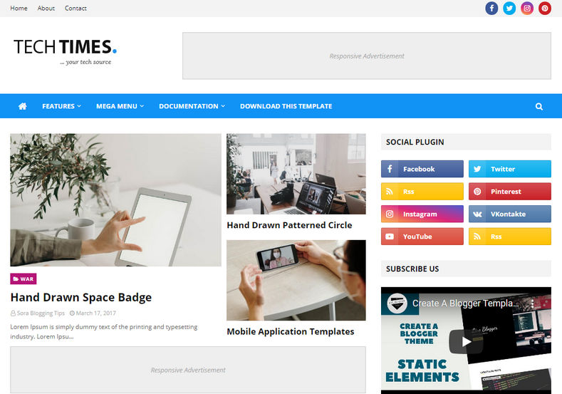 TechTimes Blogger Template is a most exciting elegant blogspot theme perfect for Technology and news related Blogs.