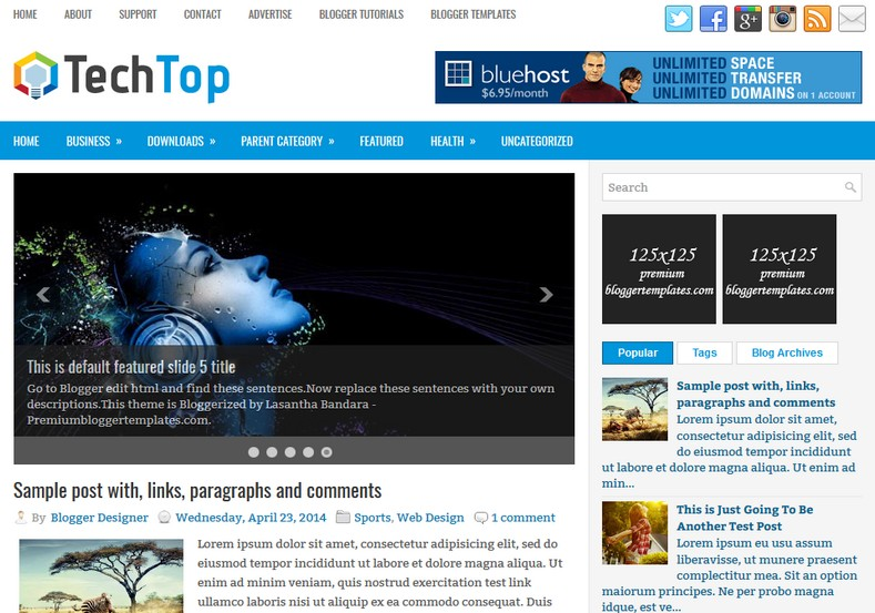 TechTop Blogger Template. Blogger Themes. Best suitable for news blog templates. Ads ready blogspot templates help for add adsense ad code and easily showing adsence ads in your blog. Adapted from WordPress templates are converted from WordPress themes. It is help for take your rich. Blogger magazine template specially designed for magazine blogs. The writers can utilize this themes for take blog attractive to users. Elegant themes are more used themes in most of the blogs. Minimalist blog templates. Free premium blogger themes means, themes authors release two types of themes. One is premium another one is free. Premium templates given for cost but free themes given for no cost. You no need pay From California, USA. $10 USD, or $20 USD and more. But premium buyers get more facilities from authors But free buyers. If you run game or other animation oriented blogs, and you can try with Anime blog templates. Today the world is fashion world. So girls involve to the criteria for make their life fashionable. So we provide fashion blogger themes for make your fashionable. News is most important concept of the world. Download news blogger templates for publishing online news. You can make your blog as online shopping store. Get Online shopping store blogger template to sell your product. Navigation is most important to users find correct place. Download drop down menu, page navigation menu, breadcrumb navigation menu and vertical dropdown menu blogspot themes for free. Google Guide. Blogging tips and Tricks for bloggers. Google bloggers can get blogspot trick and tips for bloggers. Blog templates portfolio professional blogspot themes, You can store your life moments with your blogs with personal pages templates. Video and movie blogs owners get amazing movie blog themes for their blogs. Business templates download. We publish blogger themes for photographers. Photographers easily share photos via photography blog themes. St valentine Christmas Halloween templates. Download Slideshow slider templates for free. Under construction coming soon custom blogspot template. Best beautiful high quality Custom layouts Blog templates from templateism, SoraTemplates, templatetrackers, simple, cute free premium professional unique designs blog themes blogspot themes. Seo ready portfolio anime fashion movie movies health custom layouts best download blogspot themes simple cute free premium professional unique designs xml html code html5