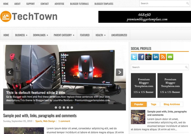 TechTown White Blogger Template. Blogger Themes. Free Blogspot templates for your blogger blog. Best suitable for news blog templates. Ads ready blogspot templates help for add adsense ad code and easily showing adsence ads in your blog. Adapted from WordPress templates are converted from WordPress themes. It is help for take your rich. Blogger magazine template specially designed for magazine blogs. The writers can utilize this themes for take blog attractive to users. Elegant themes are more used themes in most of the blogs. Use minimalist blog templates for rich look for your blog. Free premium blogger themes means, themes authors release two types of themes. One is premium another one is free. Premium templates given for cost but free themes given for no cost. You no need pay From California, USA. $10 USD, or $20 USD and more. But premium buyers get more facilities from authors But free buyers. If you run game or other animation oriented blogs, and you can try with Anime blog templates. Today the world is fashion world. So girls involve to the criteria for make their life fashionable. So we provide fashion blogger themes for make your fashionable. News is most important concept of the world. Download news blogger templates for publishing online news. You can make your blog as online shopping store. Get Online shopping store blogger template to sell your product. Navigation is most important to users find correct place. Download drop down menu, page navigation menu, breadcrumb navigation menu and vertical dropdown menu blogspot themes for free. Google Guide to blogging tips and tricks for bloggers. Google bloggers can get blogspot trick and tips for bloggers. Blog templates portfolio professional blogspot themes, You can store your life moments with your blogs with personal pages templates. Video and movie blogs owners get amazing movie blog themes for their blogs. Business templates download. We publish blogger themes for photographers. Photographers easily share photos via photography blog themes. St valentine Christmas Halloween templates. Download Slideshow slider templates for free. Under construction coming soon custom blogspot template. Best beautiful high quality Custom layouts Blog templates from templateism, SoraTemplates, templatetrackers, simple, cute free premium professional unique designs blog themes blogspot themes. Seo ready portfolio anime fashion movie movies health custom layouts best download blogspot themes simple cute free premium professional unique designs xml html code html5.