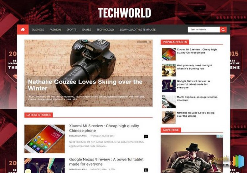TechWorld Blogger Template. Blogger Themes. Free Blogspot templates for your blogger blog. Best suitable for news blog templates. Best Ads ready blogspot templates help for add adsense ad code and easily showing adsence ads in your blog. Adapted from WordPress templates are converted from WordPress themes. It is help for take your rich. Blogger magazine template specially designed for magazine blogs. The writers can utilize this themes for take blog attractive to users. Elegant themes are more used themes in most of the blogs. Use minimalist blog templates for rich look for your blog. Free premium blogger themes means, themes authors release two types of themes. One is premium another one is free. Premium templates given for cost but free themes given for no cost. You no need pay From California, USA. $10 USD, or $20 USD and more. But premium buyers get more facilities from authors But free buyers. If you run game or other animation oriented blogs, and you can try with Anime blog templates. Today the world is fashion world. So girls involve to the criteria for make their life fashionable. So we provide fashion blogger themes for make your fashionable. News is most important concept of the world. Download news blogger templates for publishing online news. You can make your blog as online shopping store. Get Online shopping store blogger template to sell your product. Navigation is most important to users find correct place. Download drop down menu, page navigation menu, breadcrumb navigation menu and vertical dropdown menu blogspot themes for free. Google Guide to blogging tips and tricks for bloggers. Google bloggers can get blogspot trick and tips for bloggers. Blog templates portfolio professional blogspot themes, You can store your life moments with your blogs with personal pages templates. Video and movie blogs owners get amazing movie blog themes for their blogs. Business templates download. We publish blogger themes for photographers. Photographers easily share photos via photography blog themes. St valentine Christmas Halloween templates. Download Slideshow slider templates for free. Under construction coming soon custom blogspot template. Best beautiful high quality Custom layouts Blog templates from templateism, SoraTemplates, templatetrackers, simple, cute free premium professional unique designs blog themes blogspot themes. Seo ready portfolio anime fashion movie movies health custom layouts best download blogspot themes simple cute free premium professional unique designs xml html code html5. TechWorld Blogger Template