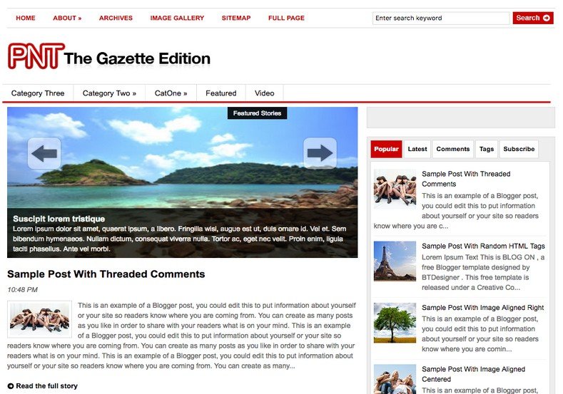the gazette edition blogger template 2014 free download