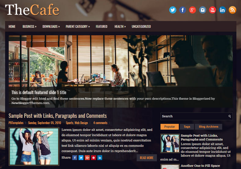 TheCafe Blogger Template is a simple professional looking fre blogger templates specially for clean and easy design lovers
