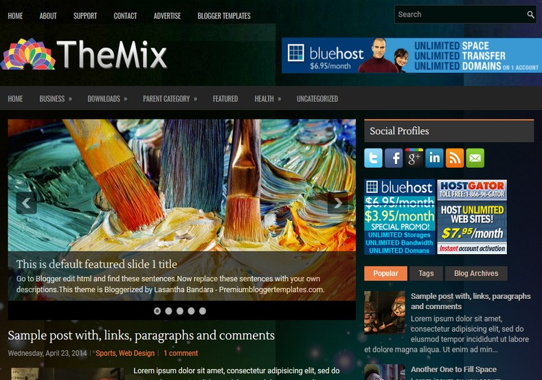 TheMix Dark Blogger Template. Blogger Themes. Free Blogspot templates for your blogger blog. Best suitable for news blog templates. Ads ready blogspot templates help for add adsense ad code and easily showing adsence ads in your blog. Adapted from WordPress templates are converted from WordPress themes. It is help for take your rich. Blogger magazine template specially designed for magazine blogs. The writers can utilize this themes for take blog attractive to users. Elegant themes are more used themes in most of the blogs. Use minimalist blog templates for rich look for your blog. Free premium blogger themes means, themes authors release two types of themes. One is premium another one is free. Premium templates given for cost but free themes given for no cost. You no need pay From California, USA. $10 USD, or $20 USD and more. But premium buyers get more facilities from authors But free buyers. If you run game or other animation oriented blogs, and you can try with Anime blog templates. Today the world is fashion world. So girls involve to the criteria for make their life fashionable. So we provide fashion blogger themes for make your fashionable. News is most important concept of the world. Download news blogger templates for publishing online news. You can make your blog as online shopping store. Get Online shopping store blogger template to sell your product. Navigation is most important to users find correct place. Download drop down menu, page navigation menu, breadcrumb navigation menu and vertical dropdown menu blogspot themes for free. Google Guide to blogging tips and tricks for bloggers. Google bloggers can get blogspot trick and tips for bloggers. Blog templates portfolio professional blogspot themes, You can store your life moments with your blogs with personal pages templates. Video and movie blogs owners get amazing movie blog themes for their blogs. Business templates download. We publish blogger themes for photographers. Photographers easily share photos via photography blog themes. St valentine Christmas Halloween templates. Download Slideshow slider templates for free. Under construction coming soon custom blogspot template. Best beautiful high quality Custom layouts Blog templates from templateism, SoraTemplates, templatetrackers, simple, cute free premium professional unique designs blog themes blogspot themes. Seo ready portfolio anime fashion movie movies health custom layouts best download blogspot themes simple cute free premium professional unique designs xml html code html5.