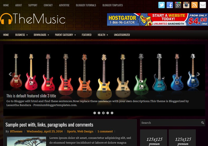 Themusic responsive blogger template free graphics for Create your own wordpress theme from an html template