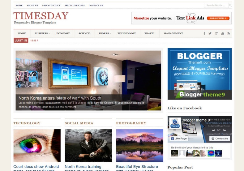 TimesDay Blogger Template new bloggertheme9